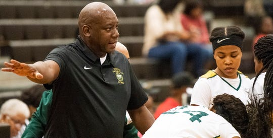 Central-Hayneville coach Terry Thomas against Foley during the Dwight Madison tournament on the Carver campus in Montgomery, Ala., on Friday December 27, 2019.