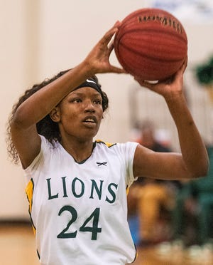 Central-Hayneville's Cordasia Harris (24) against Foley during the Dwight Madison tournament on the Carver campus in Montgomery, Ala., on Friday December 27, 2019.