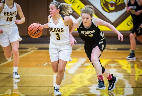 Monroe Central's Brooke Bolton slips past Daleville's defense during their game at Monroe Central High School Thursday, Dec. 26, 2019.