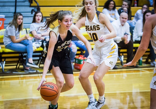 FILE -- Daleville's Heather Pautler slips past Monroe Central's defense during their game at Monroe Central High School Thursday, Dec. 26, 2019.