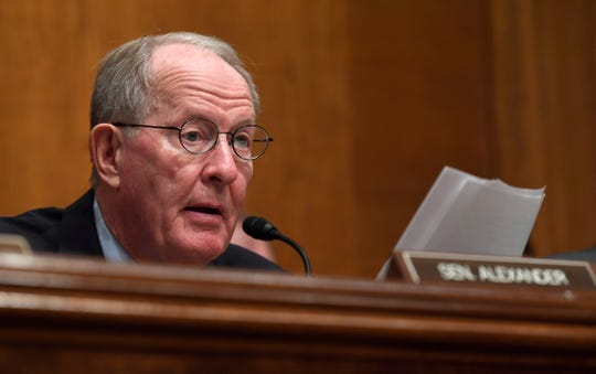 Senate Health, Education, Labor and Pensions Committee chairman Sen. Lamar Alexander, R-Tenn., speaks during an executive session of the committee on Capitol Hill in Washington, Tuesday, Sept. 24, 2019, to vote on the nomination of Eugene Scalia to be Labor Secretary. The committee voted to advance Scalia's nomination to the full Senate for consideration.