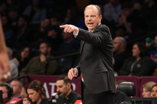 Dec 26, 2019; Brooklyn, New York, USA; New York Knicks head coach Mike Miller coaches against the Brooklyn Nets during the first quarter at Barclays Center. Mandatory Credit: Brad Penner-USA TODAY Sports