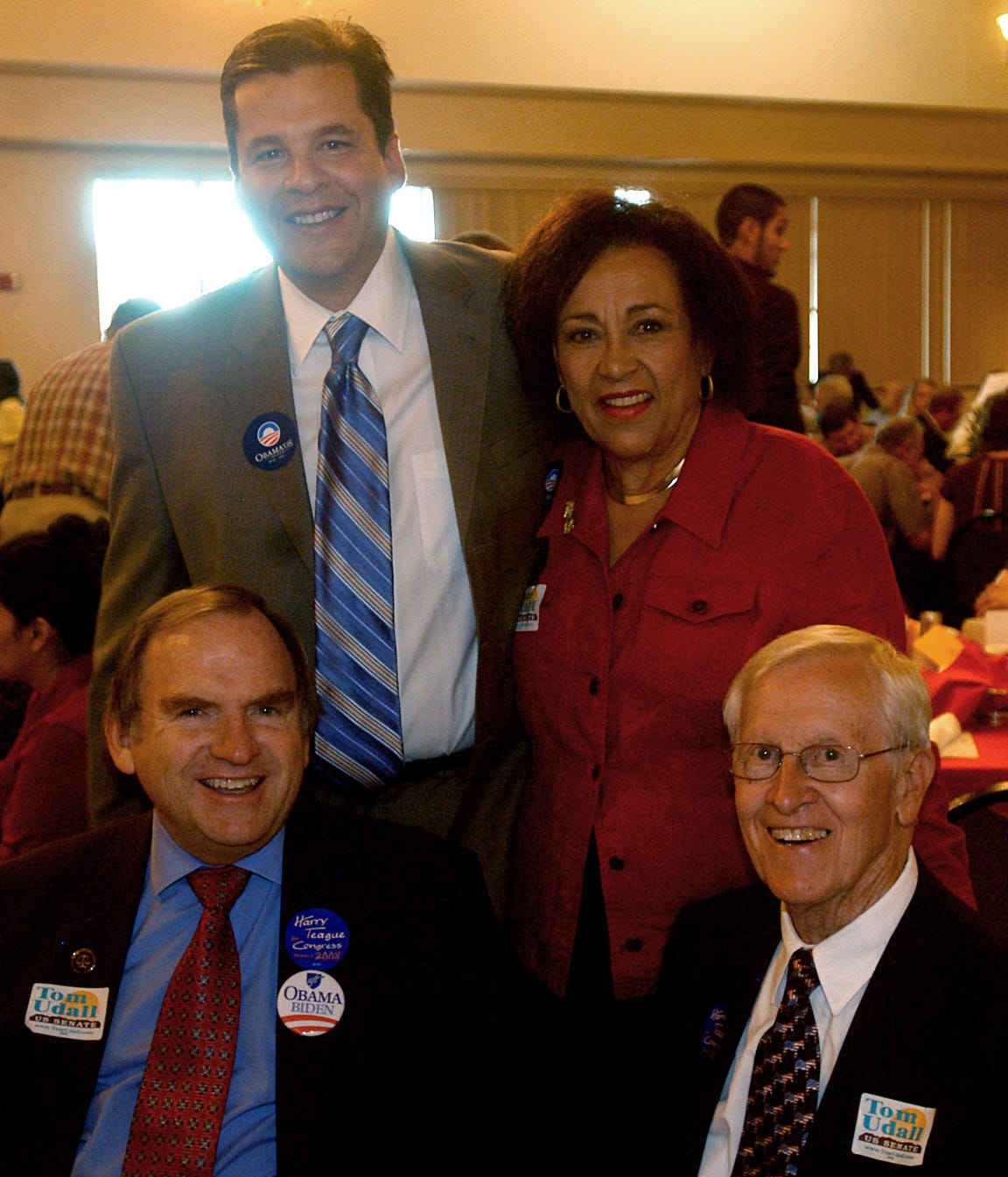 In 2008, Attorney General Gary King, bottom left, local legislator J. Paul Taylor, bottom right, state Rep. Joseph Cervantes, top left, and Mary Helen Garcia pose Monday at the New Mexico Farm and Ranch Heritage Museum. It was where The Democratic Party of Doña Ana County was celebrating U.S. workers with an annual Labor Day Breakfast.