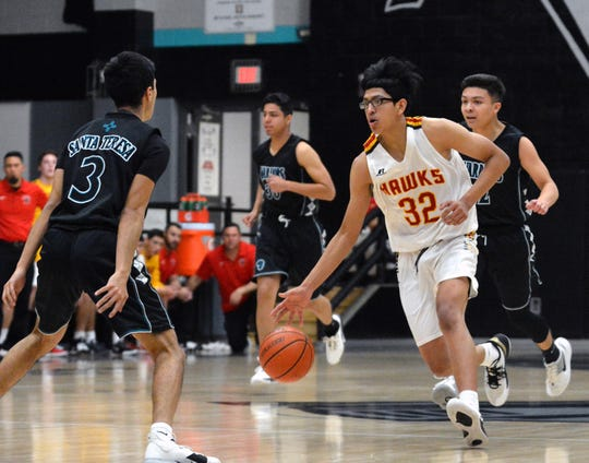 Centennial's Jesus Luna-Alvarado brings the ball up court as the Hawks took on the Santa Teresa Warriors Thursday afternoon at Oñate High School.