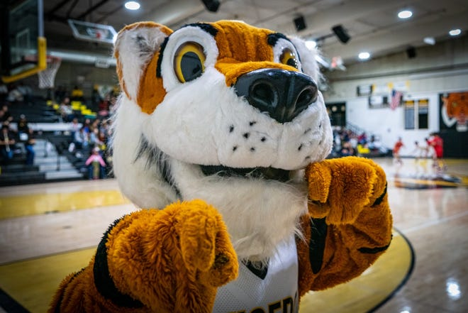 Al Tiger, Alamogordo High School's mascot, is pictured at the schools gymnasium.