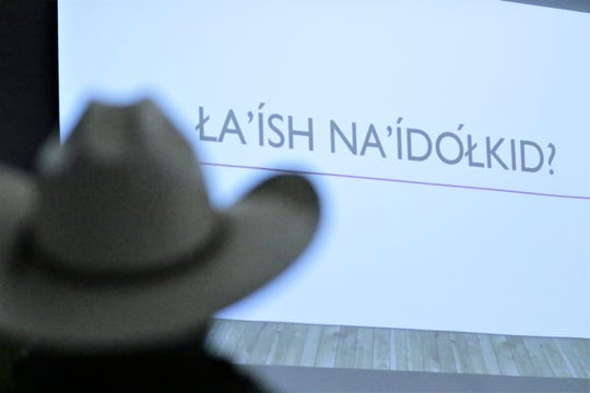 A slide at a presentation about using online tools to teach the Navajo language shown during the Diné Language Teachers Association Conference on Oct. 17, 2019 at San Juan College in Farmington.
