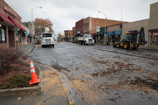 West Main Street through downtown Farmington was deserted on Dec. 27, 2019, aside from city vehicles as workers blocked access to it in preparation for the beginning of the Complete Streets construction in early January.