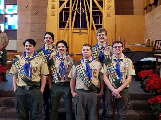 Boy Scout Troop 270 has six new Eagle Scouts: Kenneth Astorino, Devin Brining, Nicholas Brosky, Andrew Erickson, Ethan Stack and Jacob Wright.