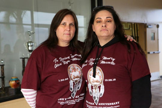 Alex Ryan Marcotte's mother, Jeanette Burns, left, and Dylan Artea's mother, Kelly Blistan, are photographed inside the Morongo Community Center in Cabazon, Calif., on December 26, 2019. Artea and Marcotte were shot one year ago in Banning. Alex Ryan Marcotte died. His cousin, Dylan Artea survived but became paralyzed. Police are still looking for the suspect.