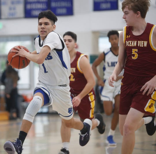 Cathedral City High School's David Estrada dribbles the ball up-court during his school's game against Ocean View at Cathedral City High School on December 26, 2019.