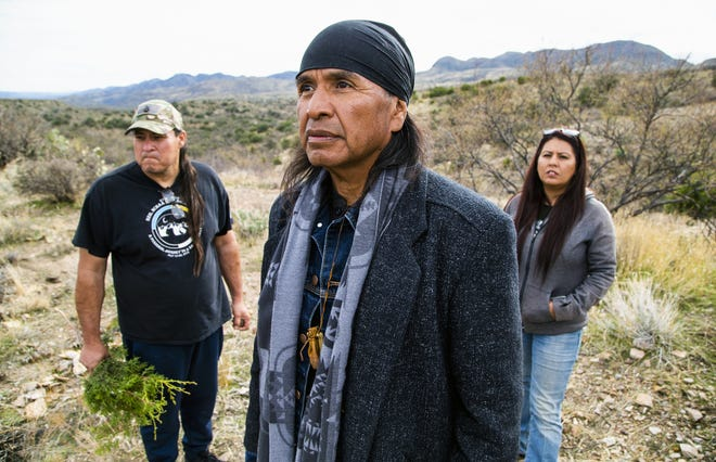 Skunk Camp Wash is where Resolution Copper is already prepping a tailings site even though it's not been approved yet. Activists, Duke Romero, left, a member of Apache Stronghold, Wendsler Nosie, Sr., former chairman of the San Carlos Apache Tribe and leader of Apache Stronghold, and Vanessa Nosie, daughter of Wendsler and Apache Stronghold member, are against the site because historical remnants of a Native American village will be destroyed and the water table and land will be polluted.