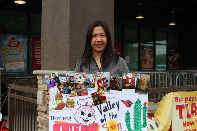 Irene Daguio Ballesteros-Shields waits at Jollibee in Chandler, Arizona's first location of the Filipino fast food chain.
