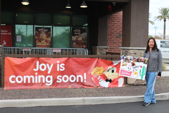 """It's an amazing experience,"" Irene Daguio Ballesteros-Shields says as she eagerly awaits opening day at Arizona's first Jollibee restaurant in Chandler."
