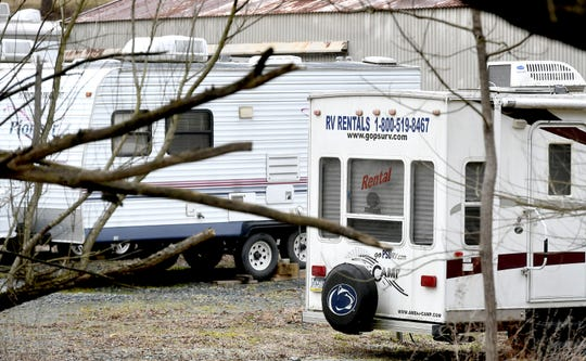 Recreational trailers sit outside Keystone Alternatives in Lower Windsor Township Friday, Dec. 26, 2019. The rental company is being sued by Penn State University for trademark infringement. Bill Kalina photo