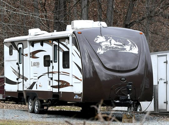 A recreational trailer bearing a lion emblem sits outside Keystone Alternatives in Lower Windsor Township Friday, Dec. 26, 2019. The rental company is being sued by Penn State University for trademark infringement. Bill Kalina photo