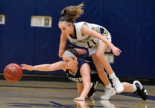 Conrad Weiser's Mayson Minnich and Breana Grim of Eastern York dive for a loose ball during the Annual Holiday Basketball Tournament, Thursday, December 26, 2019. John A. Pavoncello photo