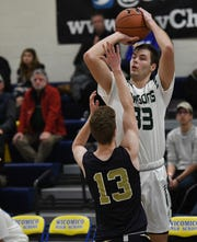 Salisbury School forward Jozsef Baraz takes a shot at the Governor's Challenge on Friday, Dec. 27, 2019.