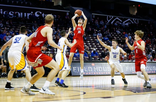 The Nixa Eagles held off the Crane Pirates to advance to the Blue Division semifinal game during the Blue and Gold Tournament at JQH Arena on Friday, Dec. 27, 2019.