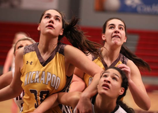 Kickapoo takes on Blue Eye during the Pink & White Lady Basketball Classic. at Drury University on Dec. 27, 2019.