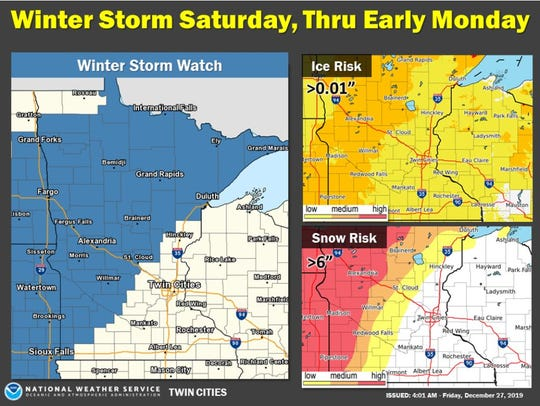 The National Weather Service issued a winter storm watch effective through 6 a.m. Monday.