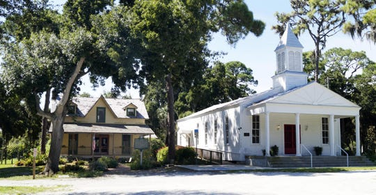 Sarasota's settlement era is represented in these two buildings in Pioneer Park at the southern edge of the Central Cocoanut neighborhood. They are the 1882 Bidwell-Wood House, left, and the 1901 Crocker Church.