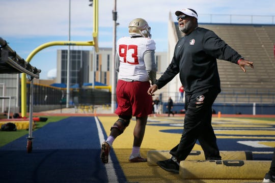 FSU head coach Odell Haggins during the first Sun Bowl practice Friday, Dec. 27, at Eastwood High School in El Paso.