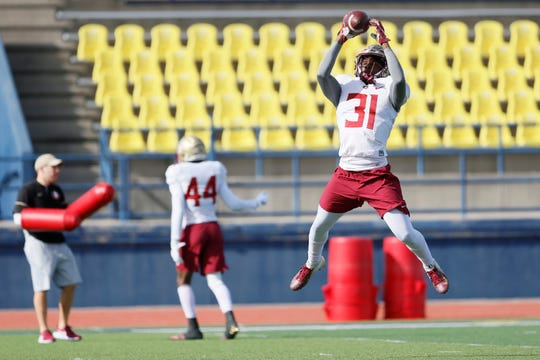 FSU's Raymond Woodie III, defensive back, runs a drill during the first Sun Bowl practice Friday, Dec. 27, at Eastwood High School in El Paso.