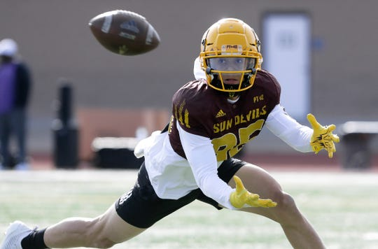 Arizona State wide receiver Brandon Pierce gets low for a pass during the team's practice Friday in El Paso.