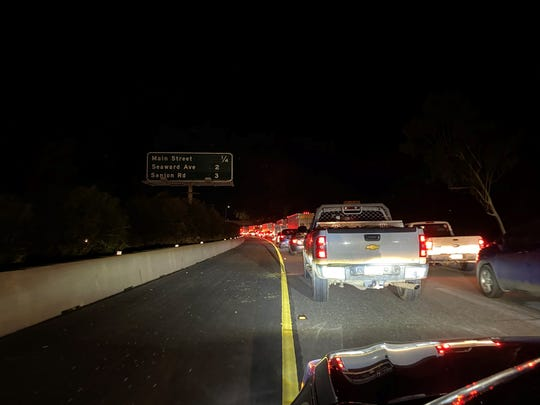 Traffic was backed up for hours Thursday night along northbound Highway 101 due to holiday travelers being rerouted from closed roadways.