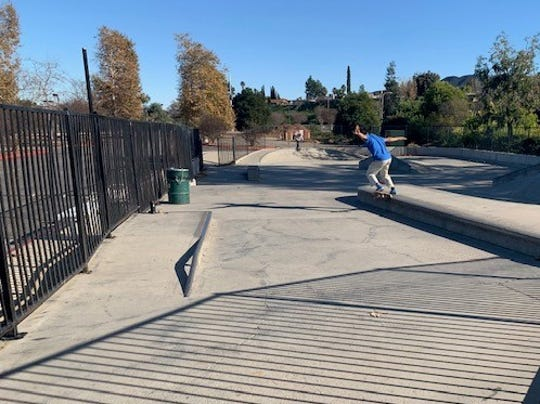 David Drewniany, 25, skates at Borchard Skate Park in Newbury Park. The Conejo Recreation and Park District plans to renovate and expand the facility.