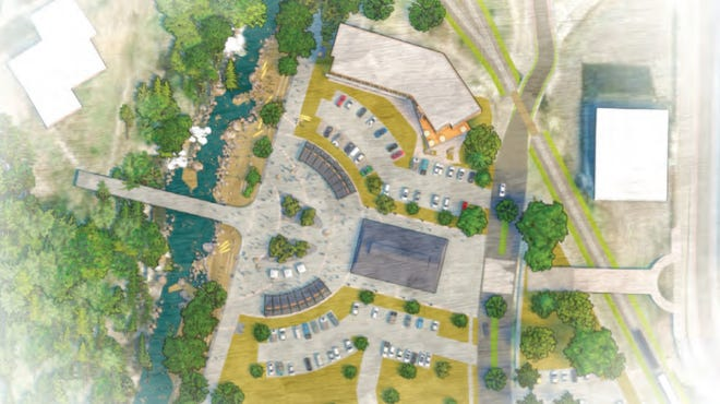 """A drawing shows how the """"South Riverfront Area"""" in Wausau could potentially be redeveloped to add an outdoor plaza, year-round market, high-end housing, a boardwalk, trails and more. It's part of a draft master plan, completed in December 2019, by Neighborhood Planners of Appleton. The city hired the firm to create the plan."""