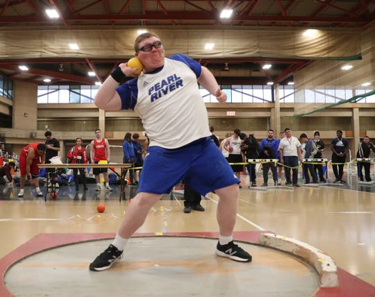 Prearl River's Will Mattei competes in the shot put at the Pearl River Holiday Festival Track Meet at Rockland Community College in Suffern on Friday, December 27, 2019.