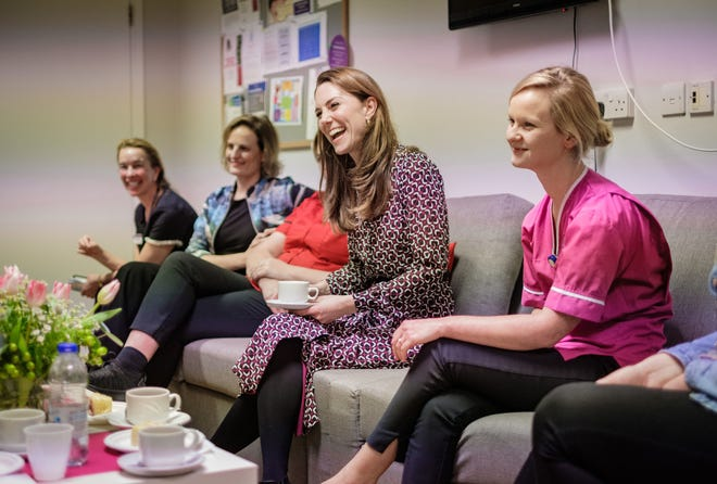 Duchess Kate of Cambridge with staff during the time she spent at Kingston Hospital Maternity Unit, in Kingston, England, in picture released by Kensington Palace on Dec. 27, 2019.