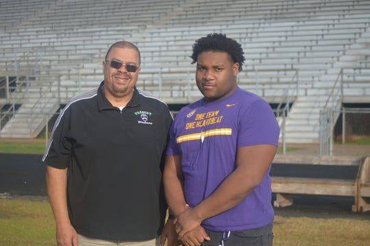 The 2019 All-Cenla team is led by Peabody coach Marvin Hall (left) and ASH defensive lineman Jacobian Guillory. Not pictured is Tioga quarterback Blake McGehee.