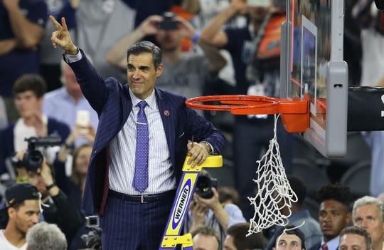 Villanova Wildcats head coach Jay Wright cuts the net April 4, 2016, after his team won last year?s NCAA championship.