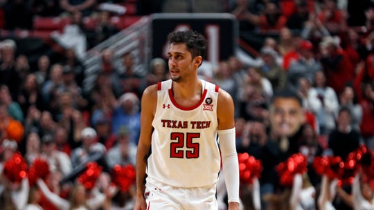 Texas Tech's Davide Moretti (25) celebrates after a three-point shot during the second half of an NCAA college basketball game against Southern Mississippi, Monday, Dec. 16, 2019, in Lubbock, Texas. (AP Photo/Brad Tollefson)