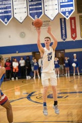 Brandon Noel makes a jump shot against Zane Trace Friday night at Chillicothe High School. Chillicothe defeated Zane Trace 65-49.