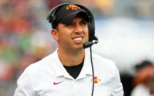 Iowa State Cyclones head coach Matt Campbell looks on against the Notre Dame Fighting Irish during the first quarter at Camping World Stadium.