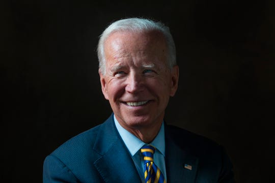 Former Vice President and 2020 presidential candidate Joe Biden meets with the Register's editorial board on Dec. 27, 2019.