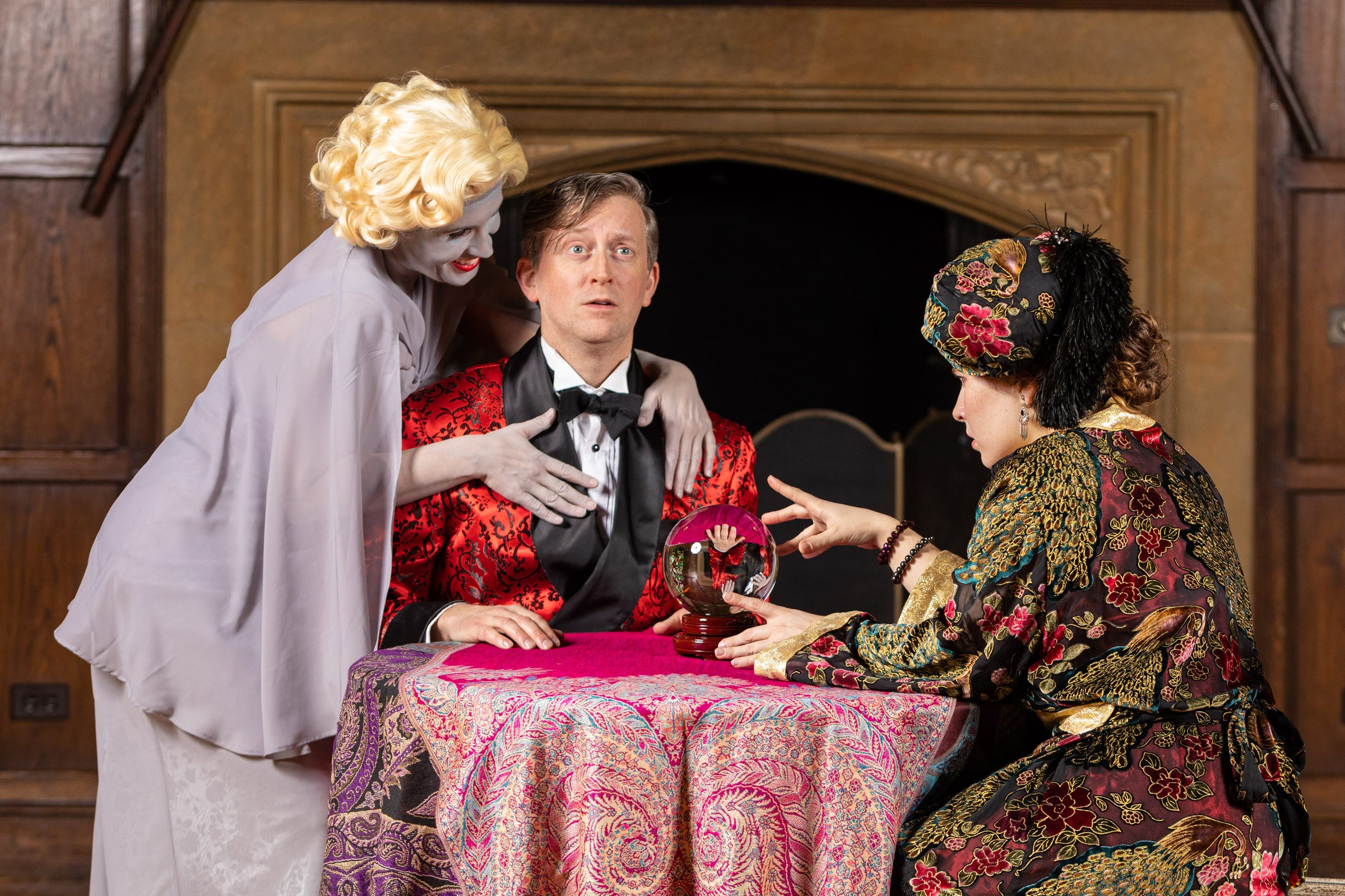 """Leslie Ann Handelman, Timothy C. Goodwin and Katie Akers in """"Blithe Spirit"""" at Meadow Brook Theatre."""