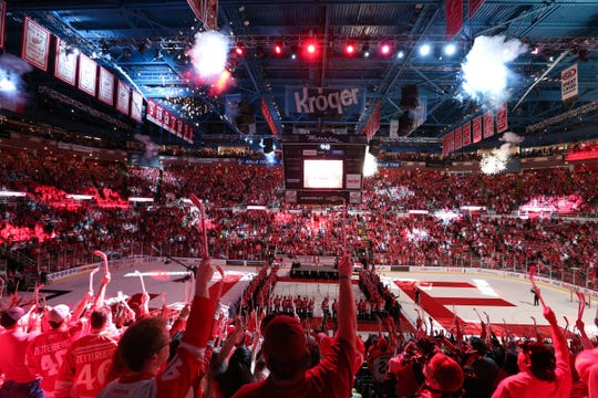 Detroit Red Wings fans enjoy the farewell ceremony at Joe Louis Arena, April 9, 2017.