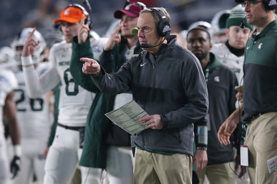 Michigan State's Mark Dantonio coaches against Wake Forest during the third quarter of the Pinstripe Bowl at Yankee Stadium, Friday, Dec. 27, 2019, in New York.