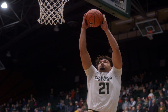 Colorado State basketball player David Roddy goes for a layup during a game against Doane at Moby Arena on Saturday, Dec. 28, 2019.
