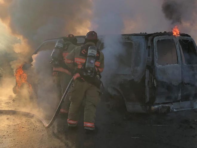 Fort Myers Fire Department puts out van fire on Saturday, Dec. 28, 2019, in Fort Myers.