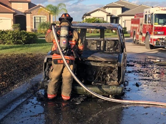 Fort Myers Fire Department puts out van fire in Pelican Preserve community on Dec. 28, 2019.
