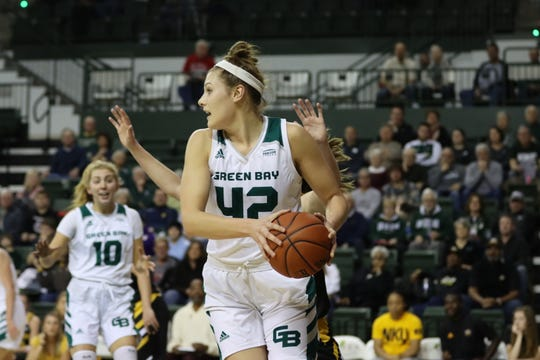 UWGB senior forward Mackenzie Wolf received her first start of the season on Saturday against Northern Kentucky. She finished with 8 points and 5 rebounds.