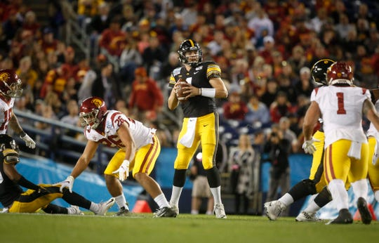 Iowa senior quarterback Nate Stanley, surveying the field against USC in Iowa's Holiday Bowl win, leaves with a 27-12 record as a starter. ESPN's Mel Kiper Jr. says he thinks Stanley will be picked in the fifth through seventh round of the NFL Draft.