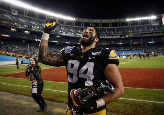 A.J. Epenesa's three-year career at Iowa was dominant, with 26.5 sacks despite only being a starter in his final season.