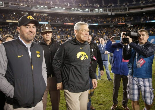 Iowa head football coach Kirk Ferentz smiles after leading his Hawkeyes to a 49-24 win over USC during the Holiday Bowl on Friday, Dec. 27, 2019, at the SDCCU Stadium in San Diego, Calif.