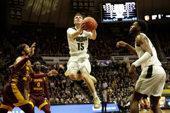 Purdue guard Tommy Luce (15) goes up for a layup during the second half of a NCAA men's basketball game, Saturday, Dec. 28, 2019 at Mackey Arena in West Lafayette.
